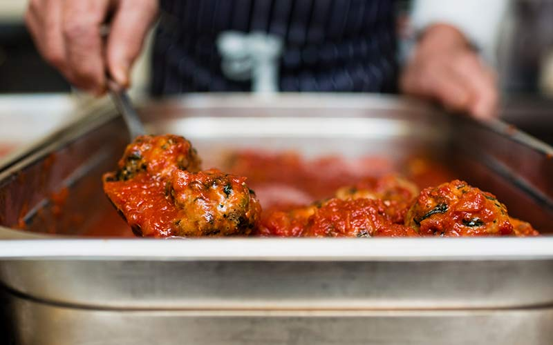 Veal & spinach meatballs in tomato sauce 600g - serves two by alastair little