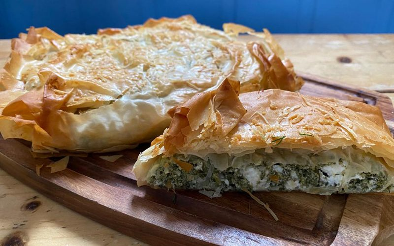 Spanakopita - Greek spinach pie with three cheeses 500g - serves two By Alastair Little