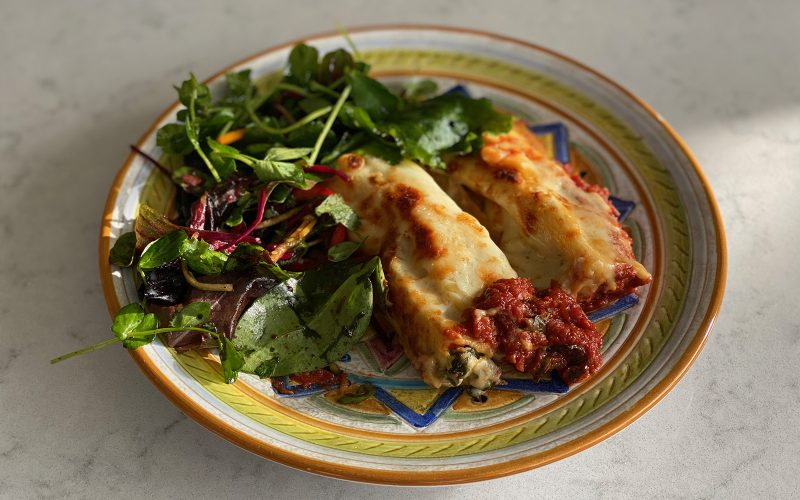 Cannelloni stuffed with ricotta and spinach, with tomato sauce 300g - serves one By Alastair Little