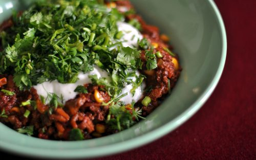 Chilli con carne 600g serves four By Alastair Little