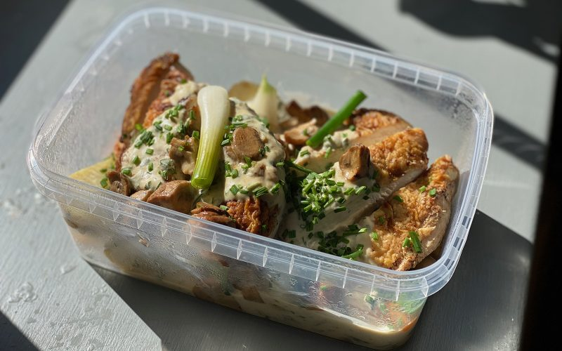 Saute of free range chicken with spring vegetables and 'fines herbes' 650g - serves two By Alastair Little